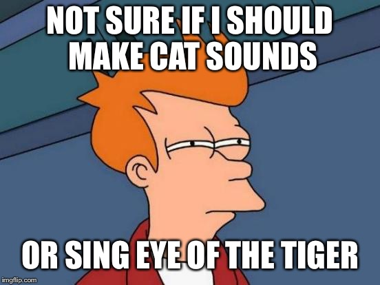 Futurama Fry Meme | NOT SURE IF I SHOULD MAKE CAT SOUNDS OR SING EYE OF THE TIGER | image tagged in memes,futurama fry | made w/ Imgflip meme maker