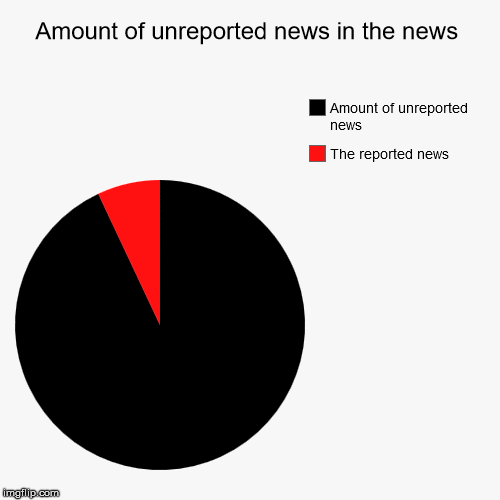 Amount of unreported news in the news | The reported news , Amount of unreported news | image tagged in funny,pie charts | made w/ Imgflip pie chart maker