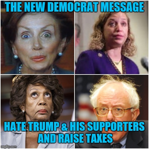 THE NEW DEMOCRAT MESSAGE HATE TRUMP & HIS SUPPORTERS AND RAISE TAXES | image tagged in crazy democrats | made w/ Imgflip meme maker