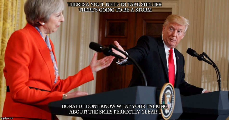 #THESTORM | THERESA YOU'L NEED TO TAKE SHELTER THERE'S GOING TO BE A STORM DONALD I DONT KNOW WHAT YOUR TALKING ABOUT! THE SKIES PERFECTLY CLEAR!.. | image tagged in heroes of the storm,theresa may,donald trump,the great awakening | made w/ Imgflip meme maker