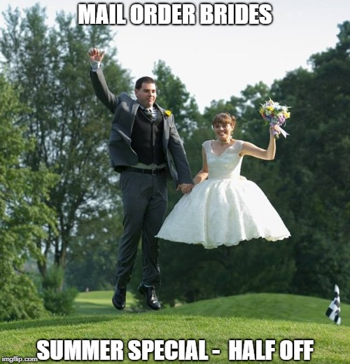 On the Wings of Love | MAIL ORDER BRIDES SUMMER SPECIAL -  HALF OFF | image tagged in memes | made w/ Imgflip meme maker
