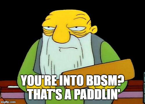 That's a paddlin' |  YOU'RE INTO BDSM? THAT'S A PADDLIN' | image tagged in memes,that's a paddlin' | made w/ Imgflip meme maker