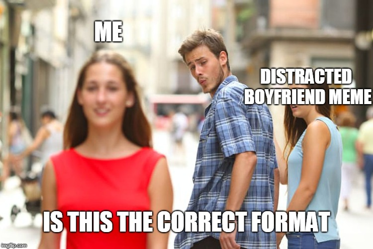 Is this a Distracted Boyfriend meme? | IS THIS THE CORRECT FORMAT ME DISTRACTED BOYFRIEND MEME | image tagged in memes,distracted boyfriend | made w/ Imgflip meme maker