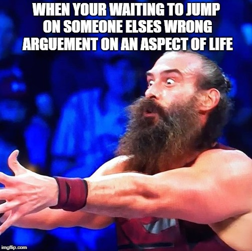 Every day  | WHEN YOUR WAITING TO JUMP ON SOMEONE ELSES WRONG ARGUEMENT ON AN ASPECT OF LIFE | image tagged in wwe | made w/ Imgflip meme maker