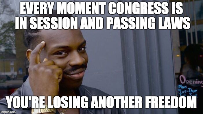 Roll Safe Think About It Meme | EVERY MOMENT CONGRESS IS IN SESSION AND PASSING LAWS YOU'RE LOSING ANOTHER FREEDOM | image tagged in memes,roll safe think about it | made w/ Imgflip meme maker