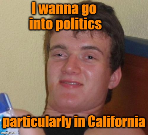10 Guy Meme | particularly in California I wanna go into politics | image tagged in memes,10 guy | made w/ Imgflip meme maker