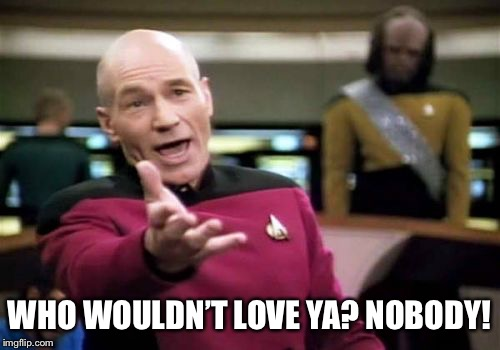 Picard Wtf Meme | WHO WOULDN'T LOVE YA? NOBODY! | image tagged in memes,picard wtf | made w/ Imgflip meme maker