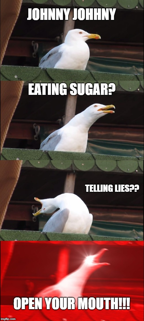Johnny Johnny | JOHNNY JOHHNY EATING SUGAR? TELLING LIES?? OPEN YOUR MOUTH!!! | image tagged in memes,inhaling seagull,johhny,eating,sugar,lies | made w/ Imgflip meme maker