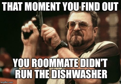Am I The Only One Around Here Meme | THAT MOMENT YOU FIND OUT YOU ROOMMATE DIDN'T RUN THE DISHWASHER | image tagged in memes,am i the only one around here,that moment when,when you realize,murder | made w/ Imgflip meme maker
