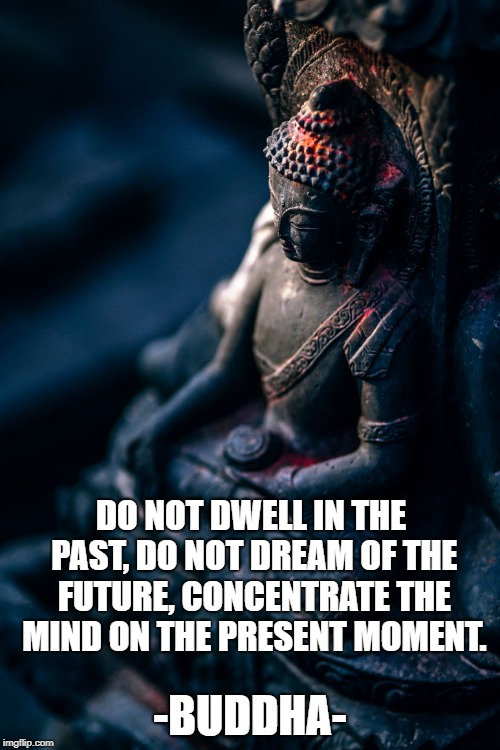 Practice Mindfulness | DO NOT DWELL IN THE PAST, DO NOT DREAM OF THE FUTURE, CONCENTRATE THE MIND ON THE PRESENT MOMENT. -BUDDHA- | image tagged in buddha,mindfulness,inspirational quotes,meditation | made w/ Imgflip meme maker