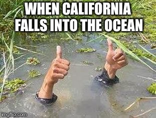 FLOODING THUMBS UP | WHEN CALIFORNIA FALLS INTO THE OCEAN | image tagged in flooding thumbs up | made w/ Imgflip meme maker