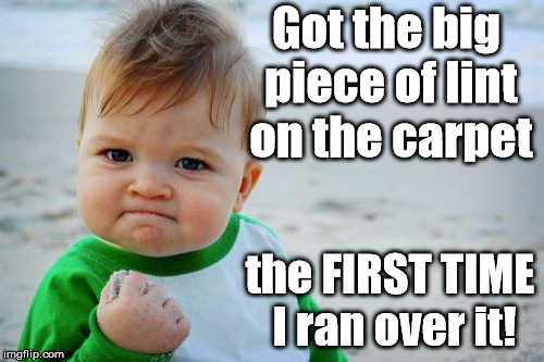Success Kid Original | Got the big piece of lint on the carpet the FIRST TIME I ran over it! | image tagged in memes,success kid original | made w/ Imgflip meme maker