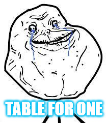 forever alone  | TABLE FOR ONE | image tagged in forever alone | made w/ Imgflip meme maker