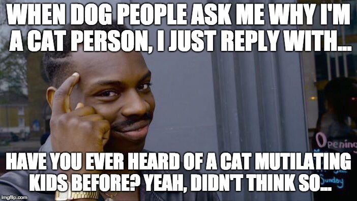 You ask Why I'm a Cat Person? | WHEN DOG PEOPLE ASK ME WHY I'M A CAT PERSON, I JUST REPLY WITH... HAVE YOU EVER HEARD OF A CAT MUTILATING KIDS BEFORE? YEAH, DIDN'T THINK SO | image tagged in memes,roll safe think about it,cats,dogs,pets,funny | made w/ Imgflip meme maker