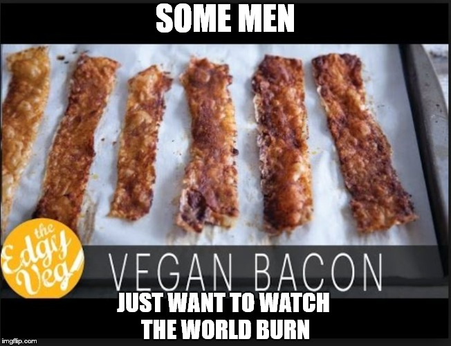 Why this bacon? | SOME MEN JUST WANT TO WATCH THE WORLD BURN | image tagged in bacon,vegan | made w/ Imgflip meme maker