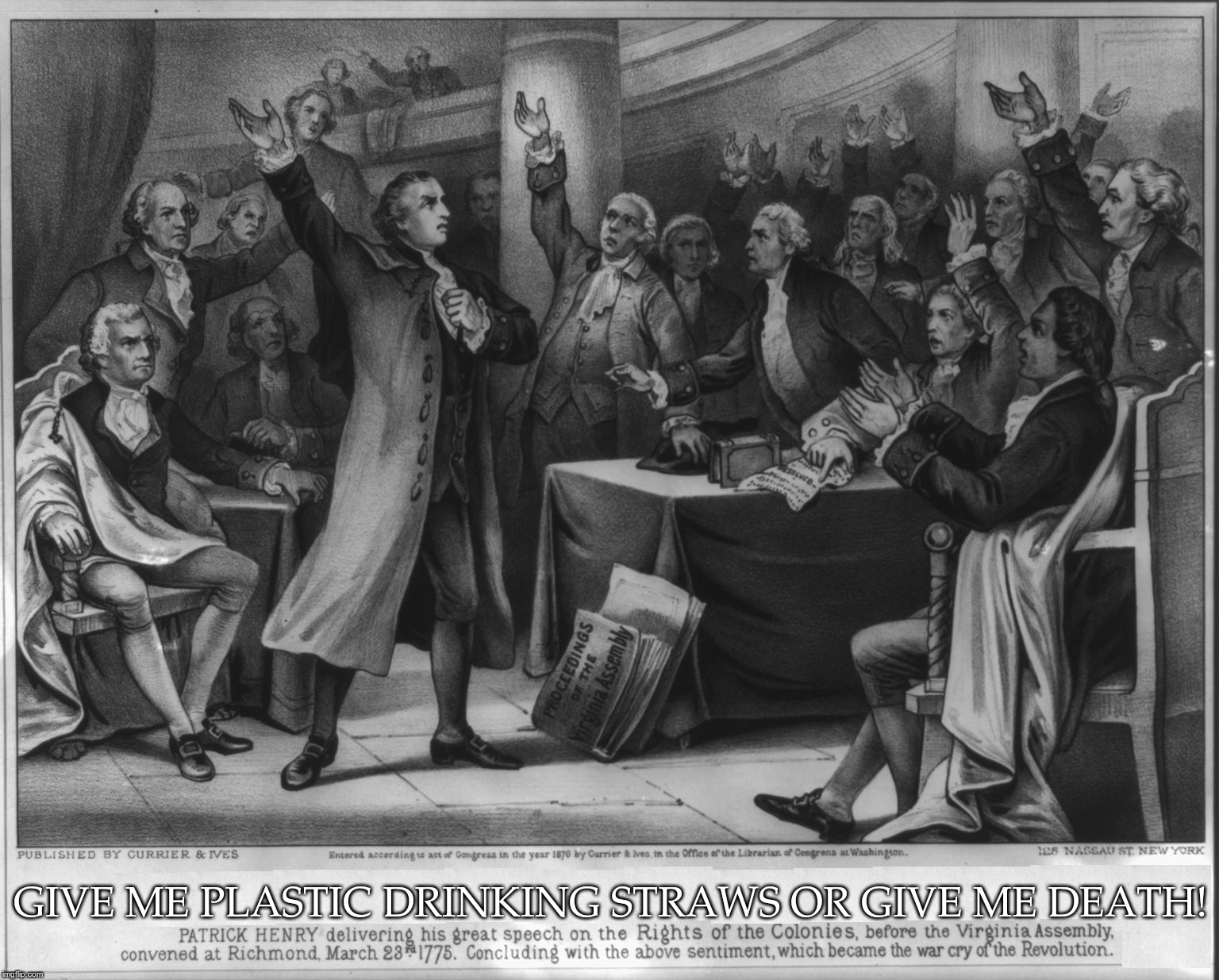 Give me plastic drinking straws or give me death! | GIVE ME PLASTIC DRINKING STRAWS OR GIVE ME DEATH! | image tagged in give me liberty or give me death,plastic drinking straws,plastic straws,give me death,patrick henry | made w/ Imgflip meme maker