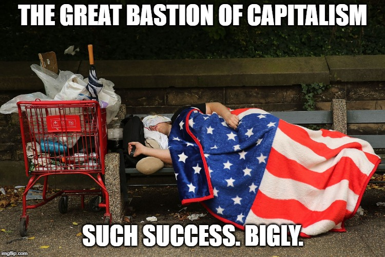 THE GREAT BASTION OF CAPITALISM SUCH SUCCESS. BIGLY. | image tagged in the american dream | made w/ Imgflip meme maker