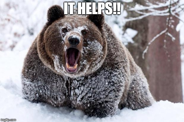 Cocaine bear | IT HELPS!! | image tagged in cocaine bear | made w/ Imgflip meme maker