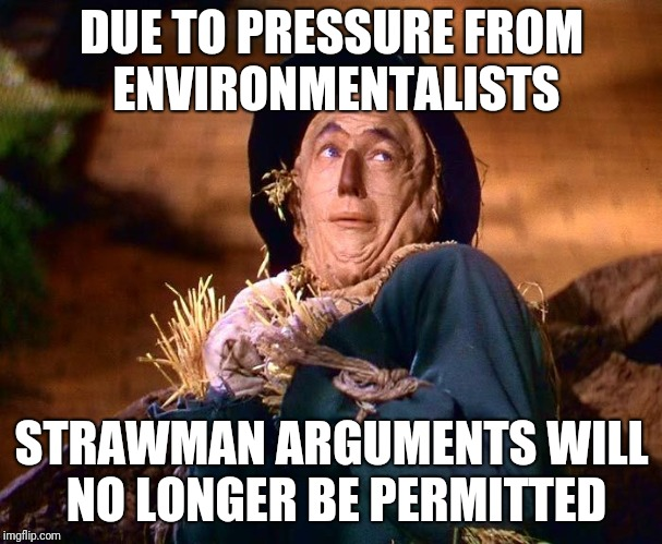 No Single Use Arguments Either | DUE TO PRESSURE FROM ENVIRONMENTALISTS STRAWMAN ARGUMENTS WILL NO LONGER BE PERMITTED | image tagged in strawman,straws,california,blog | made w/ Imgflip meme maker