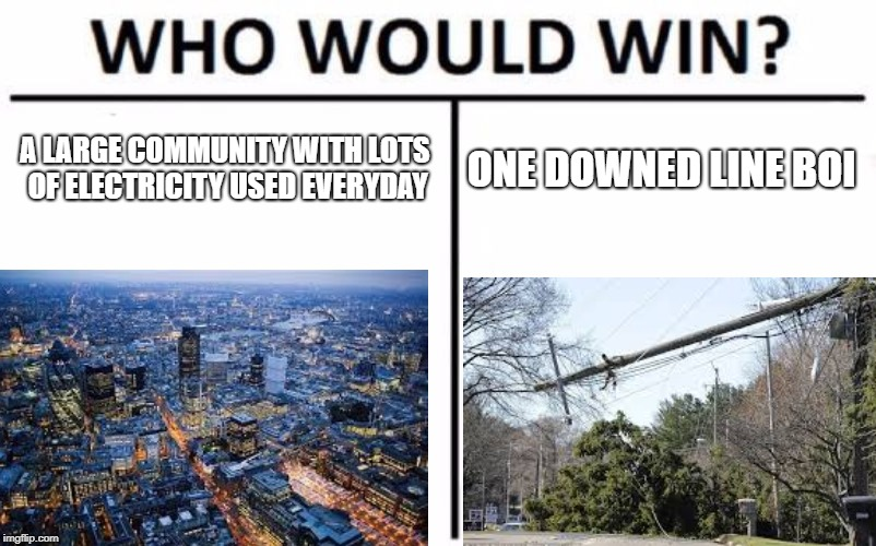 A LARGE COMMUNITY WITH LOTS OF ELECTRICITY USED EVERYDAY ONE DOWNED LINE BOI | image tagged in who would win | made w/ Imgflip meme maker