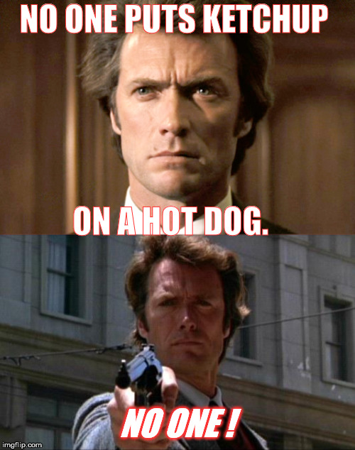 Do I make myself clear?  | NO ONE PUTS KETCHUP ON A HOT DOG. NO ONE ! | image tagged in hotdog,dirty harry | made w/ Imgflip meme maker