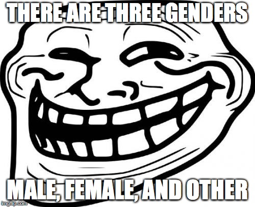 When signing up for a gmail account, it asks what gender you are, with other as an option! | THERE ARE THREE GENDERS MALE, FEMALE, AND OTHER | image tagged in memes,troll face,gender,troll | made w/ Imgflip meme maker