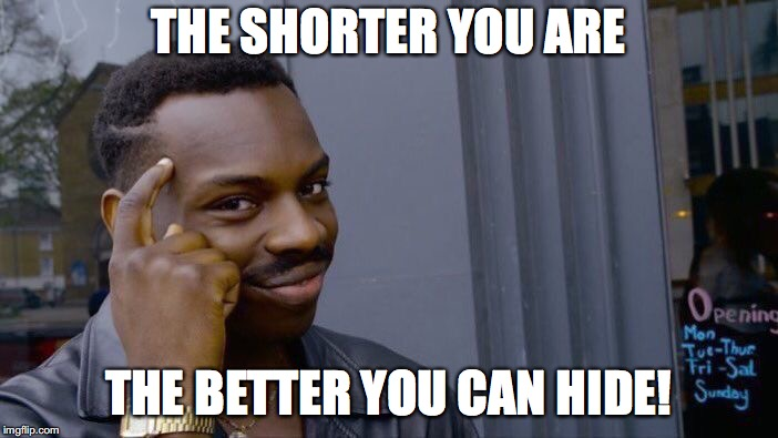 Roll Safe Think About It | THE SHORTER YOU ARE THE BETTER YOU CAN HIDE! | image tagged in memes,roll safe think about it,hiding,short | made w/ Imgflip meme maker