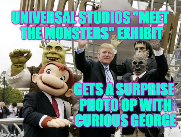 "Warning.  Older children and young adults find the exhibit too scary. | UNIVERSAL STUDIOS ""MEET THE MONSTERS"" EXHIBIT GETS A SURPRISE PHOTO OP WITH CURIOUS GEORGE 