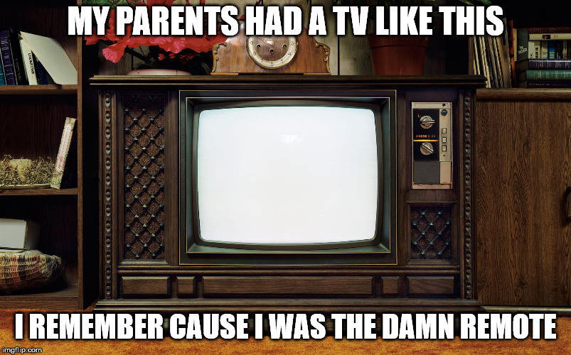 I feel sorry for the kids today. They will never know the joy of being the TV remote. | MY PARENTS HAD A TV LIKE THIS I REMEMBER CAUSE I WAS THE DAMN REMOTE | image tagged in old tv | made w/ Imgflip meme maker