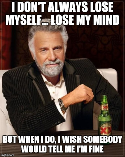The Most Interesting Man In The World Meme | I DON'T ALWAYS LOSE MYSELF... LOSE MY MIND BUT WHEN I DO, I WISH SOMEBODY WOULD TELL ME I'M FINE | image tagged in memes,the most interesting man in the world | made w/ Imgflip meme maker