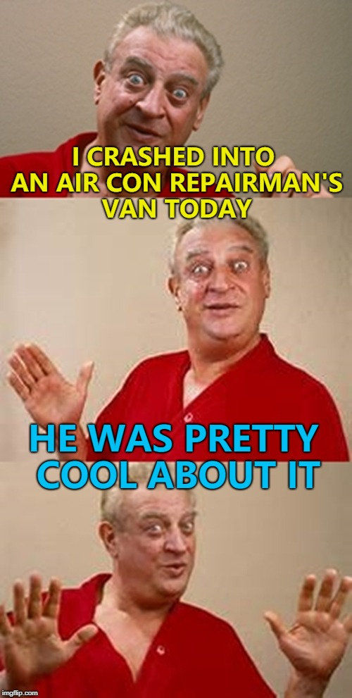 Probably because it wasn't his van... :) | I CRASHED INTO AN AIR CON REPAIRMAN'S VAN TODAY HE WAS PRETTY COOL ABOUT IT | image tagged in bad pun dangerfield,memes,air conditioner,crash | made w/ Imgflip meme maker