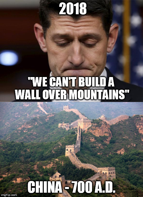 "Oh Really |  2018; ""WE CAN'T BUILD A WALL OVER MOUNTAINS""; CHINA - 700 A.D. 