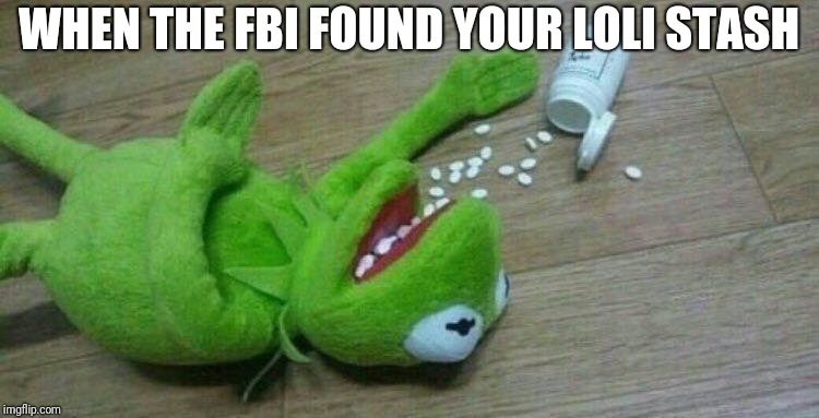 WHEN THE FBI FOUND YOUR LOLI STASH | image tagged in kermit overdose | made w/ Imgflip meme maker