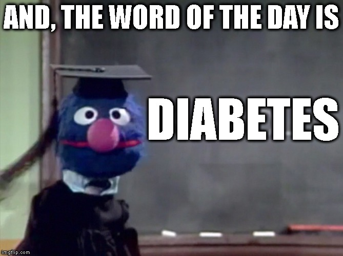 Grover | AND, THE WORD OF THE DAY IS DIABETES | image tagged in grover | made w/ Imgflip meme maker