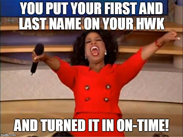 Oprah You Get A Meme |  YOU PUT YOUR FIRST AND LAST NAME ON YOUR HWK; AND TURNED IT IN ON-TIME! | image tagged in memes,oprah you get a | made w/ Imgflip meme maker