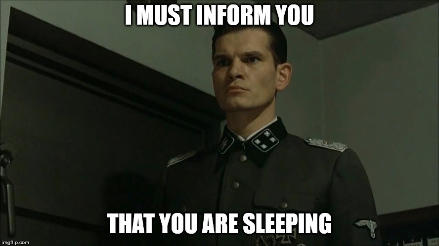 Obvious Otto Günsche | I MUST INFORM YOU THAT YOU ARE SLEEPING | image tagged in obvious otto gnsche | made w/ Imgflip meme maker