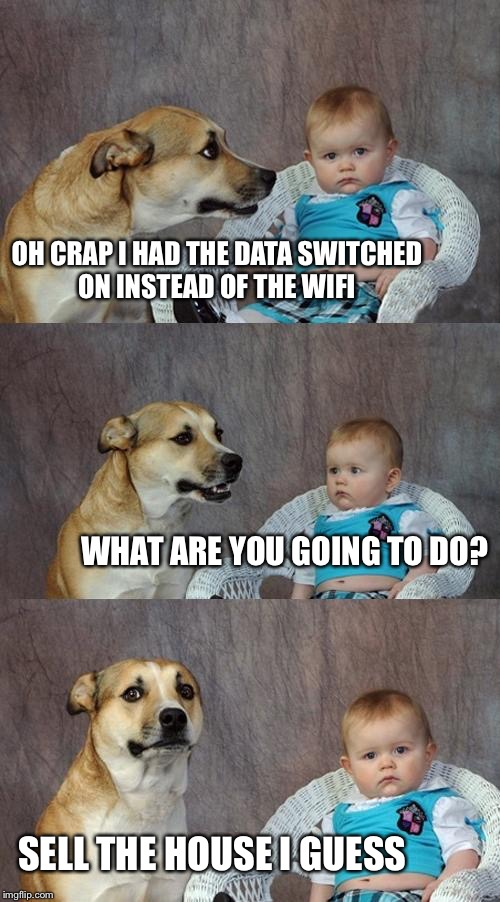 Dad Joke Dog | OH CRAP I HAD THE DATA SWITCHED ON INSTEAD OF THE WIFI WHAT ARE YOU GOING TO DO? SELL THE HOUSE I GUESS | image tagged in memes,dad joke dog | made w/ Imgflip meme maker