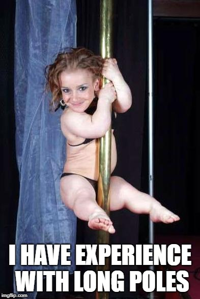 Midget Stripper | I HAVE EXPERIENCE WITH LONG POLES | image tagged in midget stripper | made w/ Imgflip meme maker