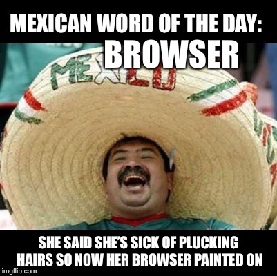 Mexican Word of the Day (LARGE) | BROWSER SHE SAID SHE'S SICK OF PLUCKING HAIRS SO NOW HER BROWSER PAINTED ON | image tagged in mexican word of the day large | made w/ Imgflip meme maker