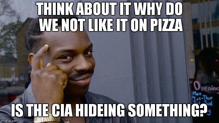 Roll Safe Think About It Meme | THINK ABOUT IT WHY DO WE NOT LIKE IT ON PIZZA IS THE CIA HIDEING SOMETHING? | image tagged in memes,roll safe think about it | made w/ Imgflip meme maker