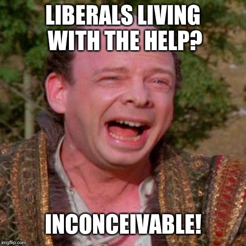 Inconceivable Vizzini | LIBERALS LIVING WITH THE HELP? INCONCEIVABLE! | image tagged in inconceivable vizzini | made w/ Imgflip meme maker