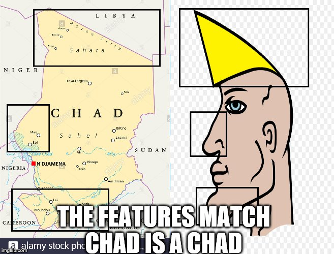 Chad is a Chad | THE FEATURES MATCH CHAD IS A CHAD | image tagged in chad- | made w/ Imgflip meme maker