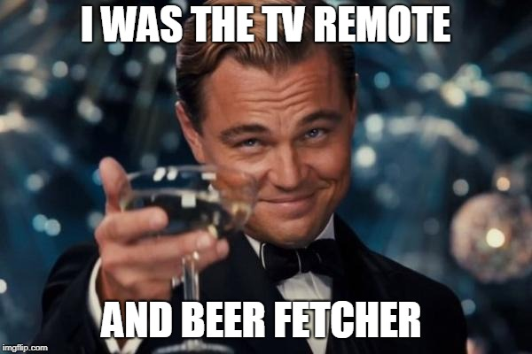 Leonardo Dicaprio Cheers Meme | I WAS THE TV REMOTE AND BEER FETCHER | image tagged in memes,leonardo dicaprio cheers | made w/ Imgflip meme maker
