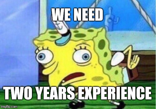 We just don't have the time to give it to you | WE NEED TWO YEARS EXPERIENCE | image tagged in memes,mocking spongebob | made w/ Imgflip meme maker