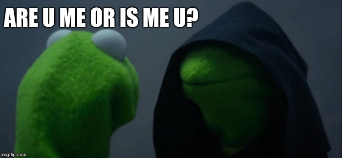 Evil Kermit Meme | ARE U ME OR IS ME U? | image tagged in memes,evil kermit | made w/ Imgflip meme maker
