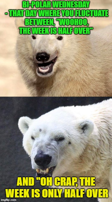 "Yeah it's Wednesday | BI-POLAR WEDNESDAY - THAT DAY WHERE YOU FLUCTUATE BETWEEN, ""WOOHOO, THE WEEK IS HALF OVER"" AND ""OH CRAP, THE WEEK IS ONLY HALF OVER 