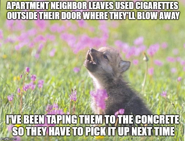 Baby Insanity Wolf Meme | APARTMENT NEIGHBOR LEAVES USED CIGARETTES OUTSIDE THEIR DOOR WHERE THEY'LL BLOW AWAY I'VE BEEN TAPING THEM TO THE CONCRETE SO THEY HAVE TO P | image tagged in memes,baby insanity wolf,AdviceAnimals | made w/ Imgflip meme maker