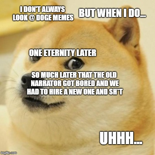 Doge Meme | I DON'T ALWAYS LOOK @ DOGE MEMES BUT WHEN I DO... SO MUCH LATER THAT THE OLD NARRATOR GOT BORED AND WE HAD TO HIRE A NEW ONE AND SH*T ONE ET | image tagged in memes,doge | made w/ Imgflip meme maker