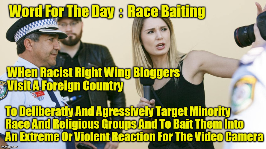Race Baiting | Word For The Day  :  Race Baiting To Deliberatly And Agressively Target Minority Race And Religious Groups And To Bait Them Into An Extreme  | image tagged in lauren southern,race baiting,right wing | made w/ Imgflip meme maker