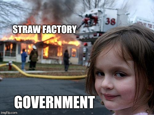 Straw might be fairy tales for future generations | STRAW FACTORY GOVERNMENT | image tagged in memes,disaster girl | made w/ Imgflip meme maker